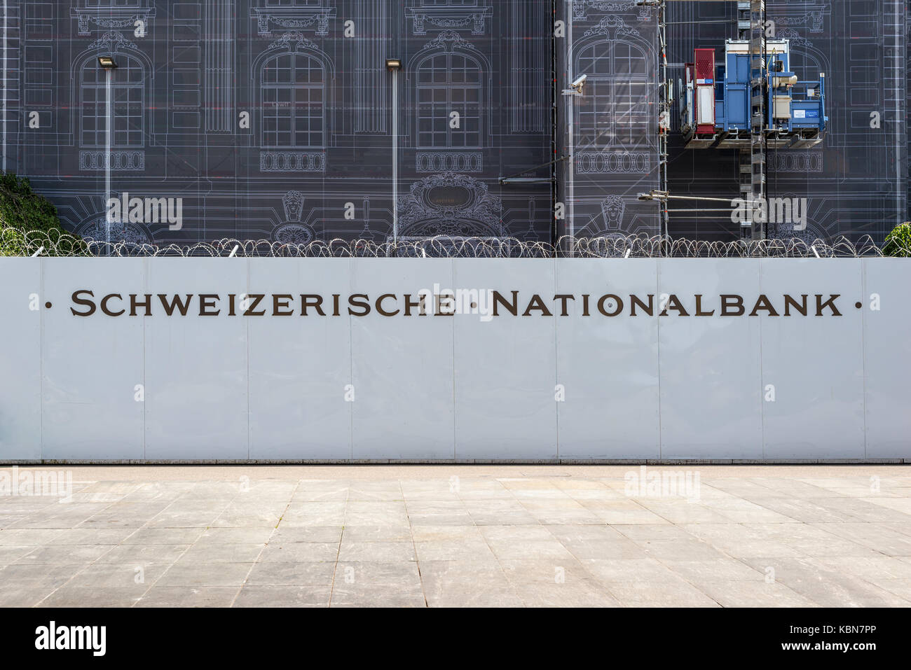 Bern, Switzerland - May 26, 2016: Repair of the facade of the Swiss National Bank in Bern, Switzerland. Building Stock Photo