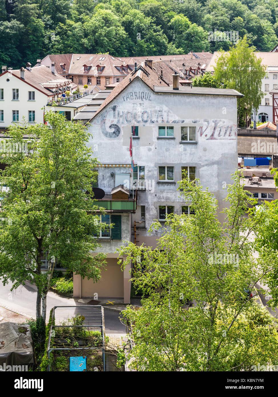 Bern, Switzerland - May 26, 2016: The original Lindt Chocolate factory in Bern, Switzerland. Lindt is a Swiss chocolatier Stock Photo