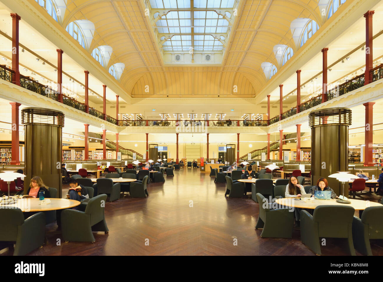 Australia Melbourne: State Library of Victoria. Redmond Barry Reading Room.Stock Photo