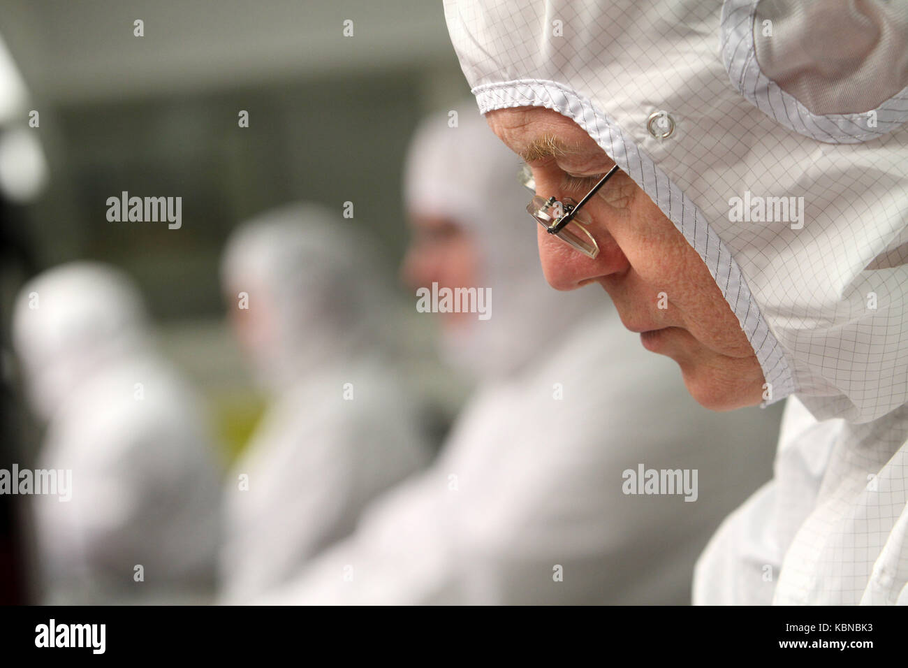 Scientists working in clean room environment - Stock Image