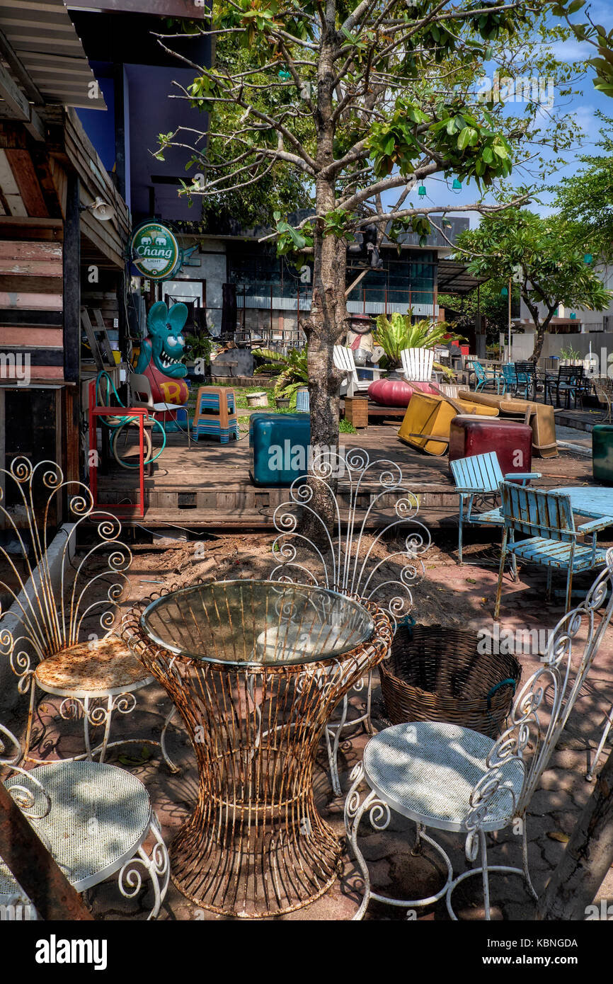 Abandoned and derelict beer bar, Thailand, Southeast Asia. Concept business failure. Economic downturn, - Stock Image