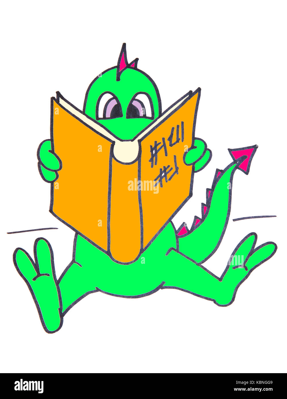 Baby dragon sitting, reading a book. Illustration. Stock Photo
