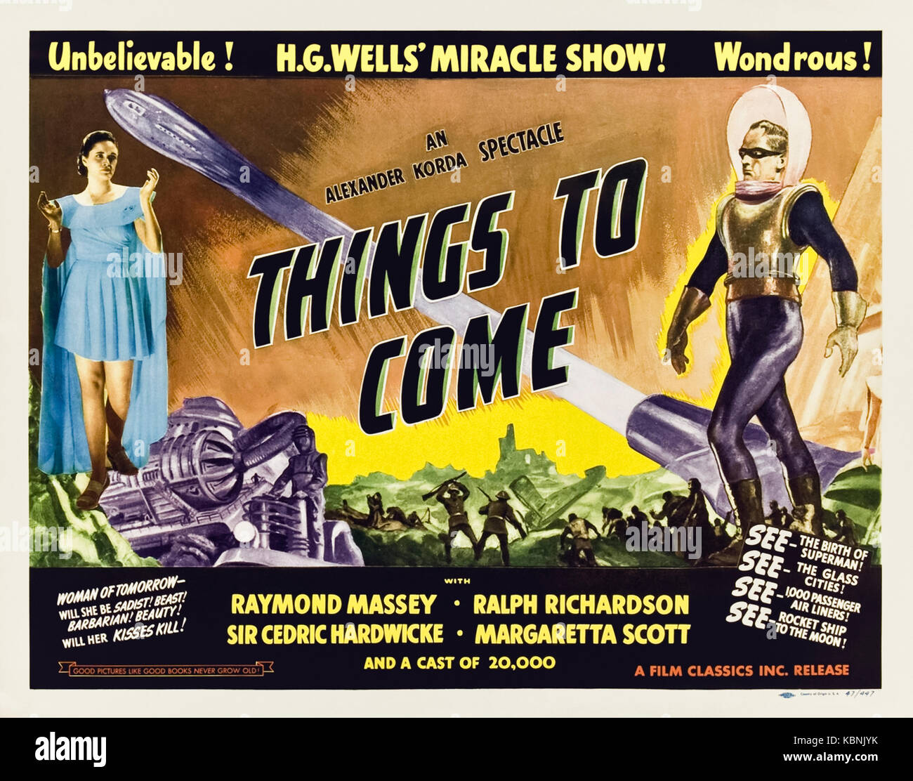 Things to Come (1936) directed by William Cameron Menzies and starring Raymond Massey, Edward Chapman and Ralph - Stock Image