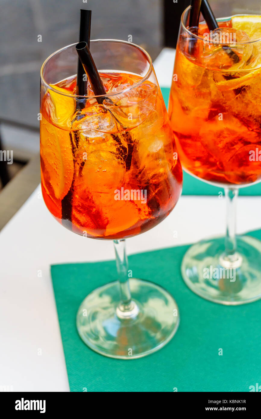 Aperol spritz cocktail in glass - Stock Image