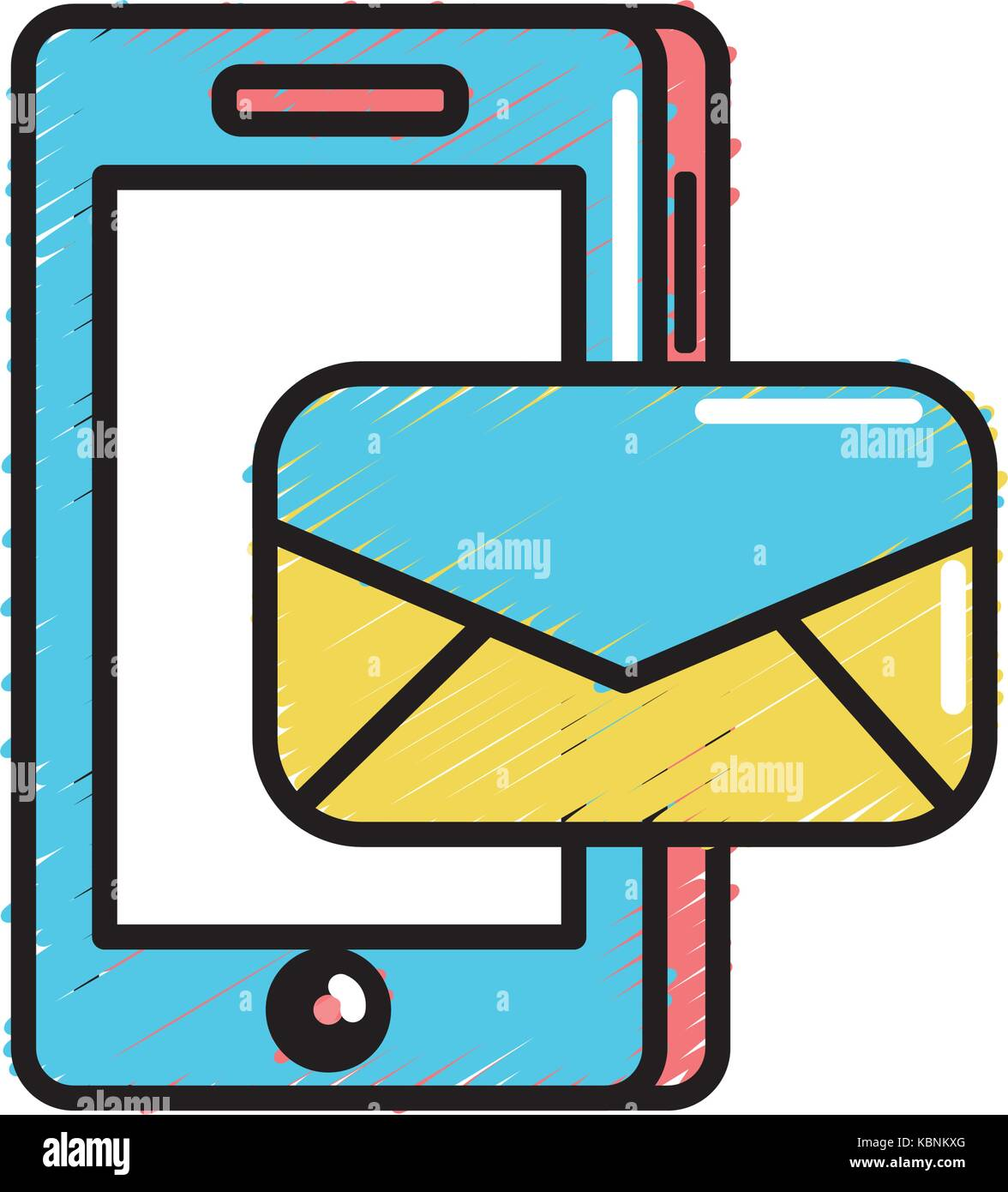 smartphone technology with e-mail message - Stock Image