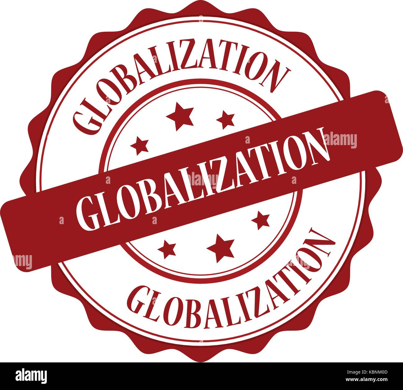 Globalization red stamp illustration - Stock Image