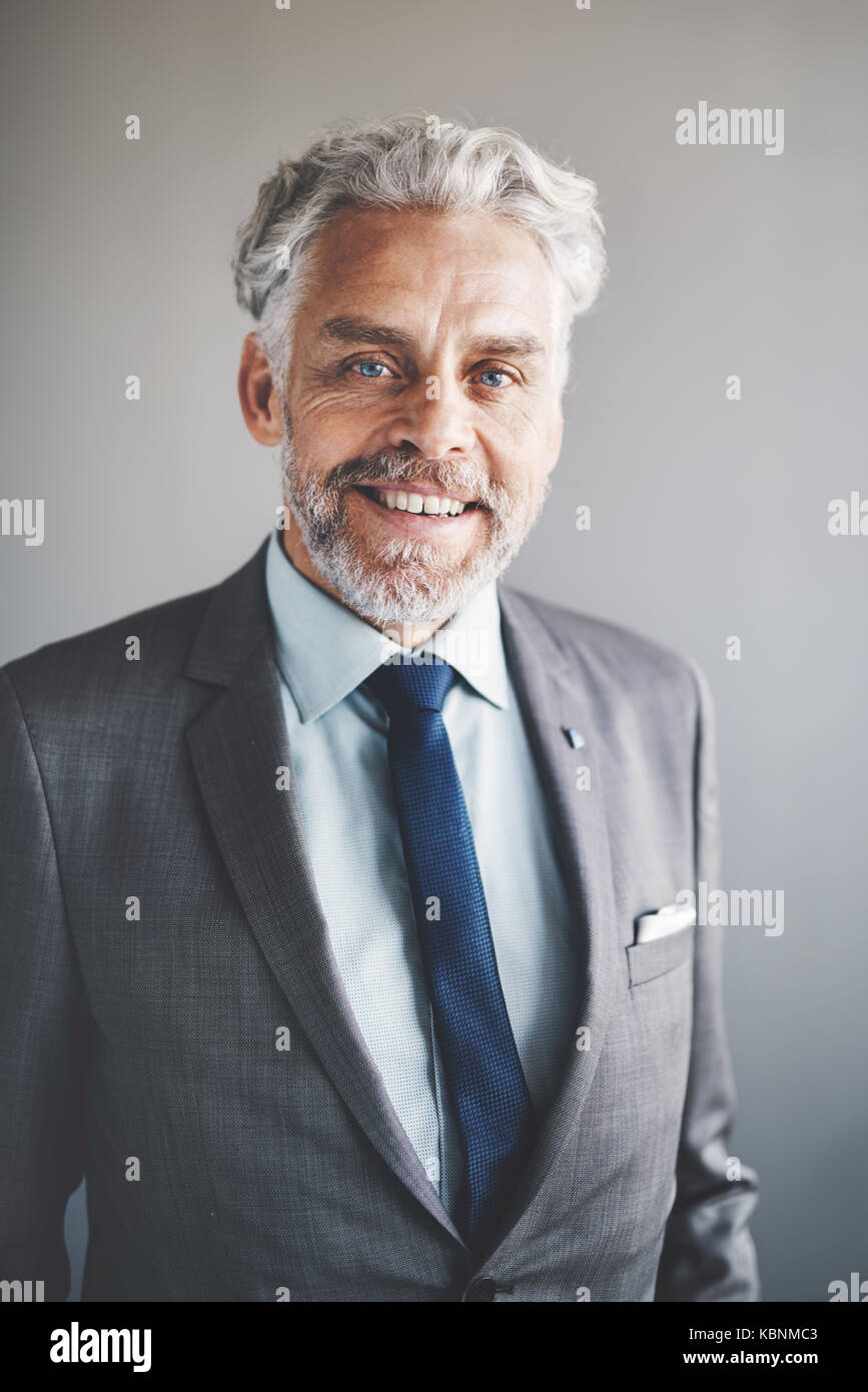 Portrait of a handsome mature businessman wearing a suit smiling confidently while standing alone in an office Stock Photo