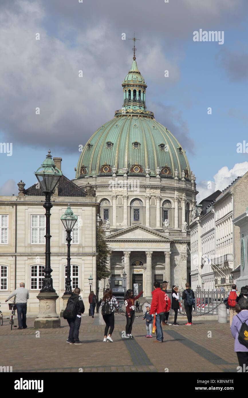 dome of the marble church copenhagen denmark - Stock Image
