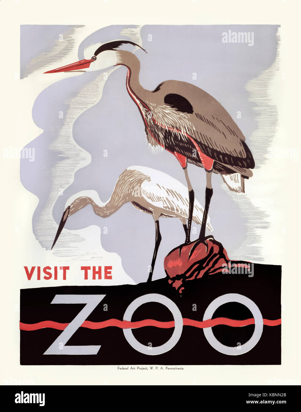"""""""Visit the Zoo"""" 1936 poster for Philadephia Zoo featuring a woodblock print of two herons. Produced under the Federal - Stock Image"""