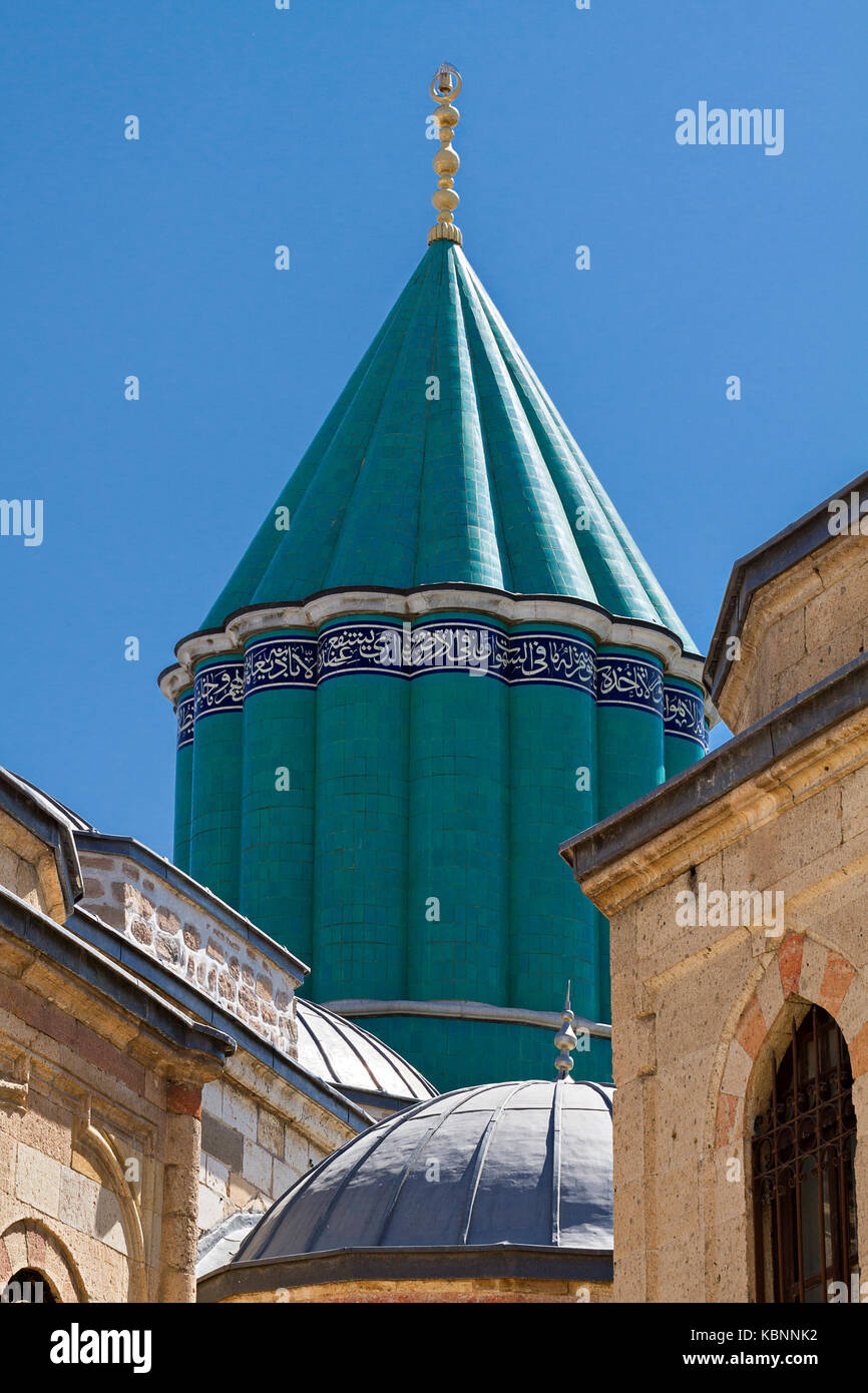 Green dome of the Mausoleum of Mevlana, in Konya, Turkey. - Stock Image