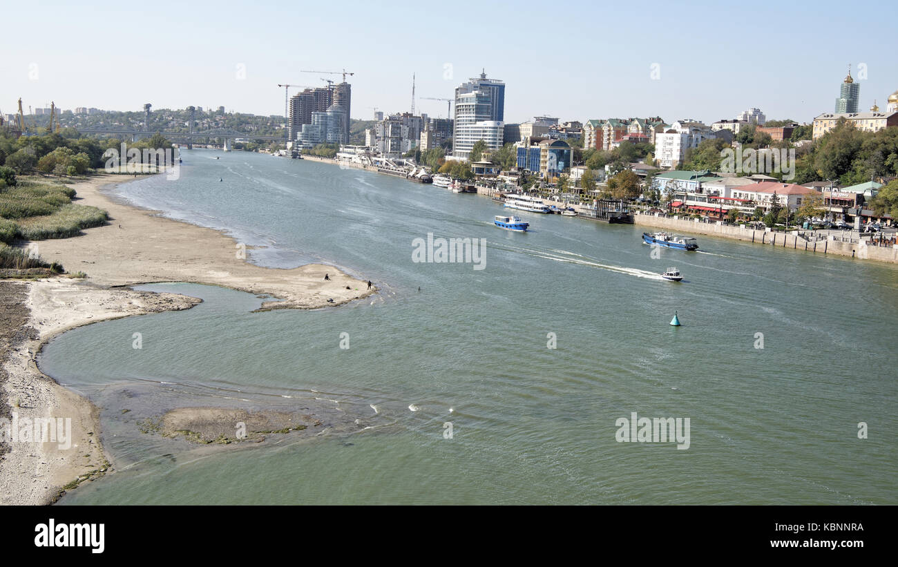 The flow of water in the river Don during a strong wind. Rostov-on-Don - Stock Image