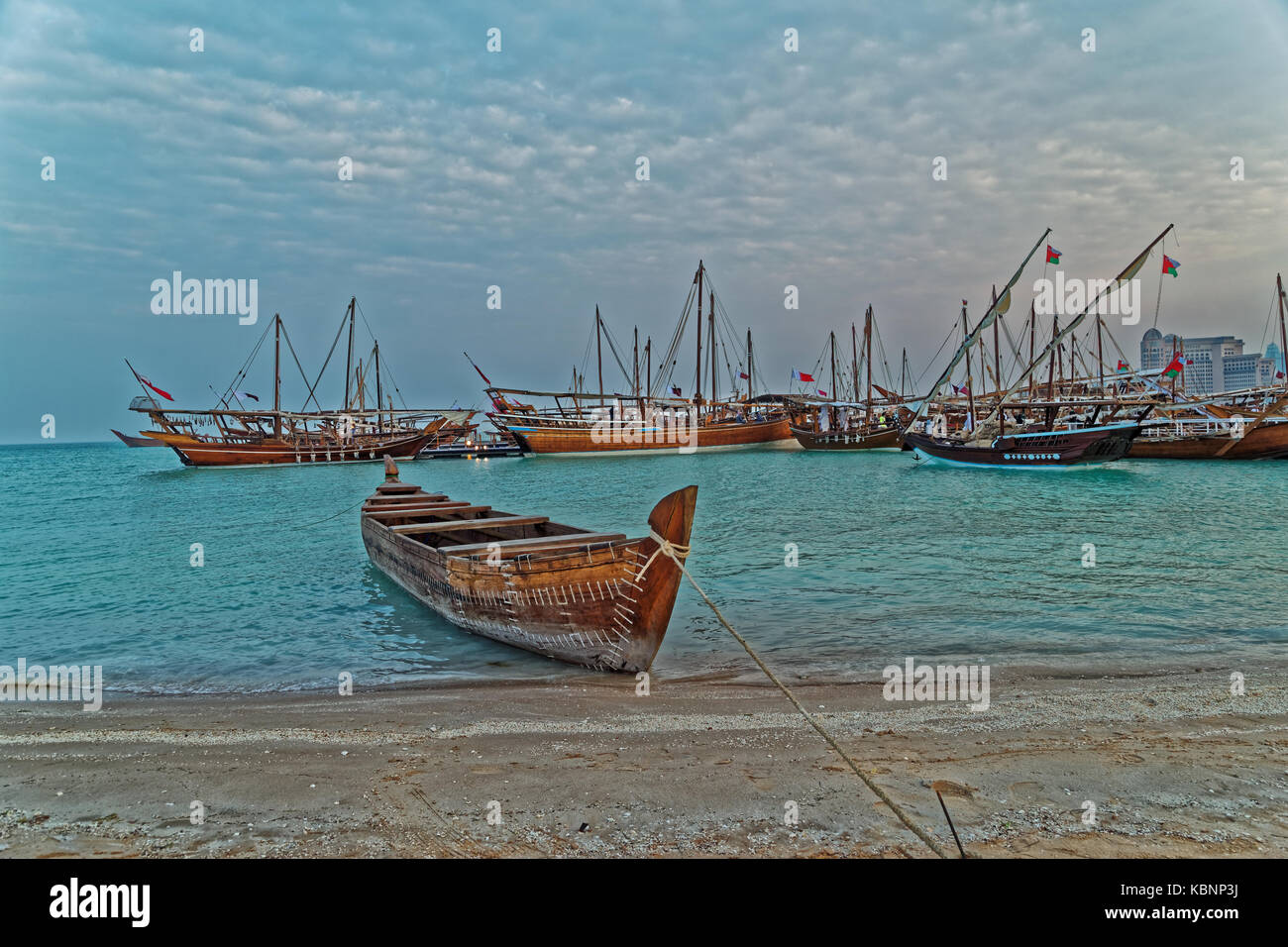 Traditional boats (dhow) in Arabic gulf Stock Photo