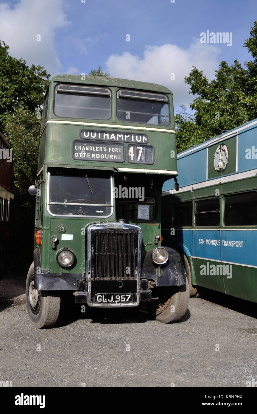 Preserved Hants & Dorset Leyland PD1 GLJ 957 is seen at the West of England Transport Collection Open Day on - Stock Image