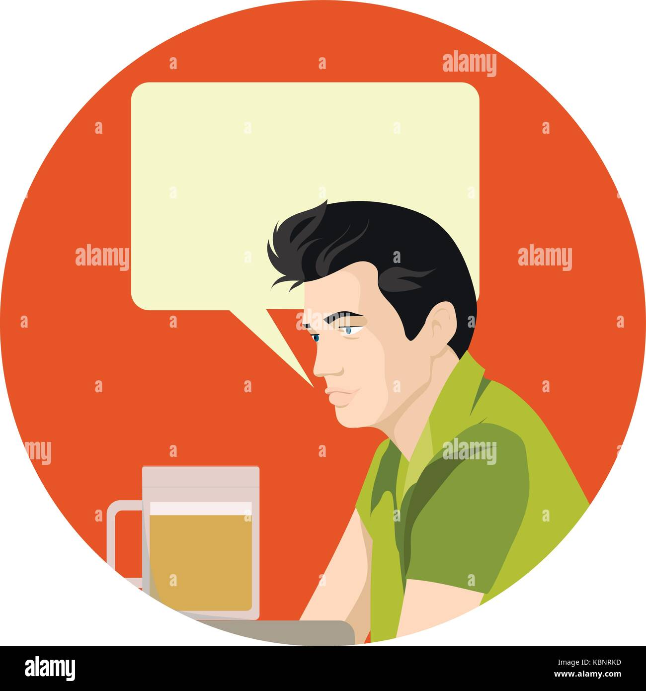 Man holding beer. Cartoon Vector Illustration, ads, banner, sign with specchbubble place for text - Stock Image