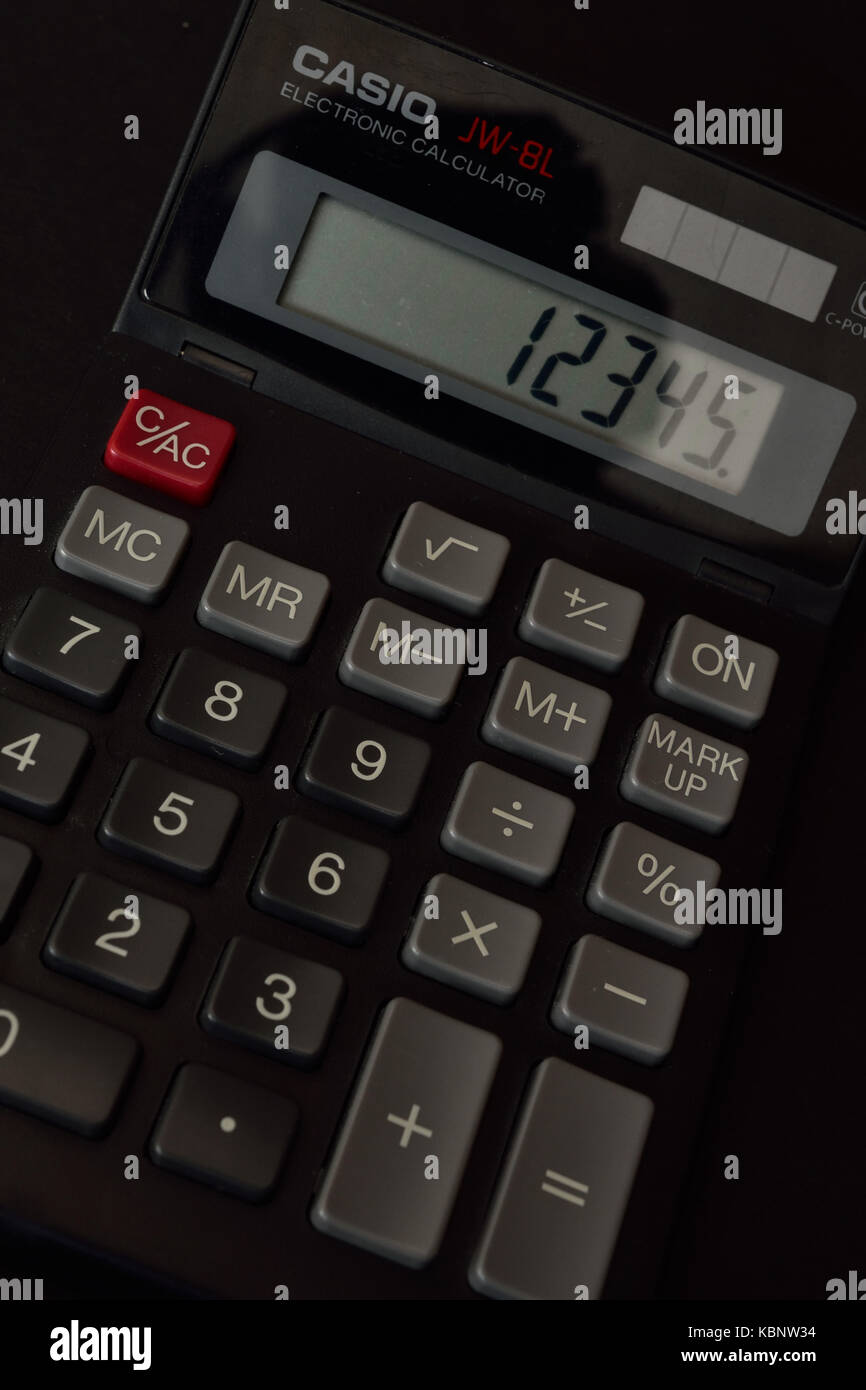 Casio JW-8L solar powered calculator. - Stock Image