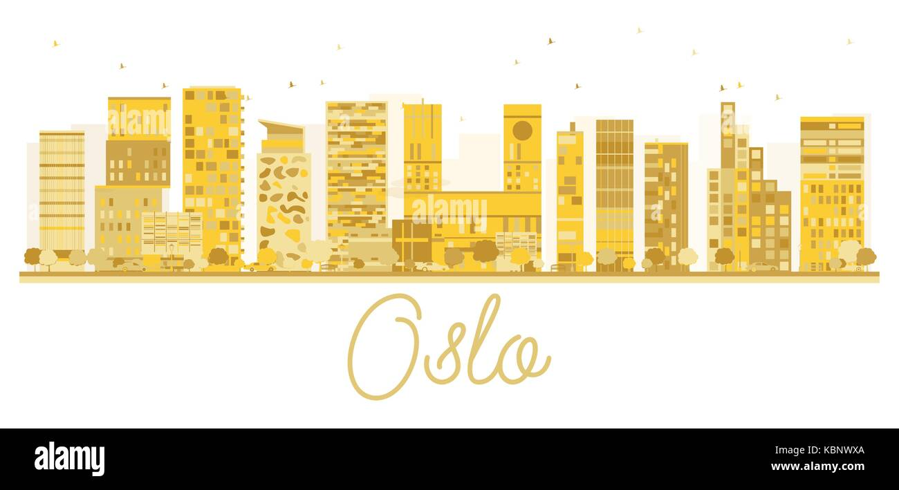 Oslo City skyline golden silhouette. Vector illustration. Cityscape with famous landmarks. - Stock Vector