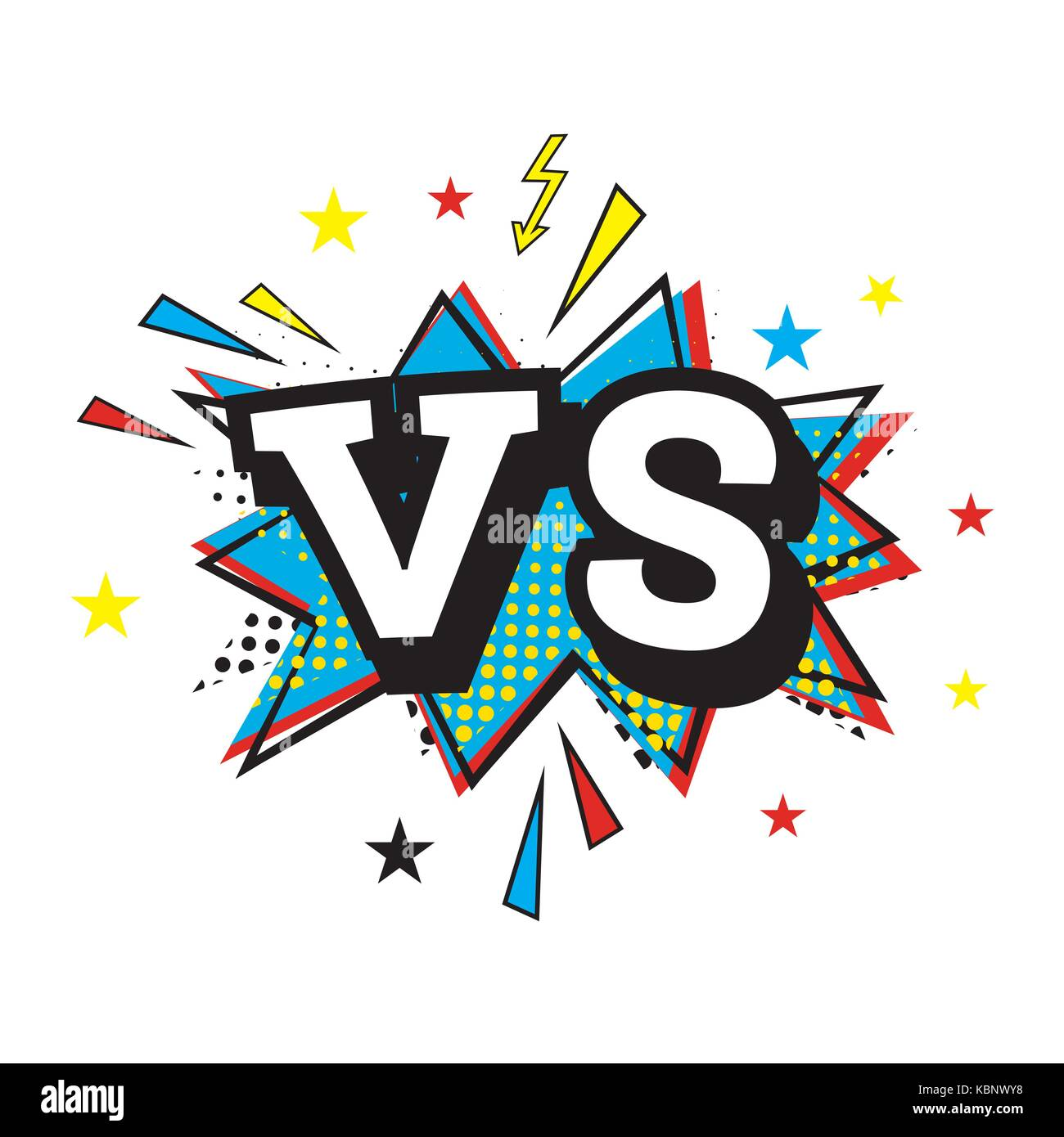 Versus Letters or VS Logo. Comic Text in Pop Art Style. Vector Illustration - Stock Vector