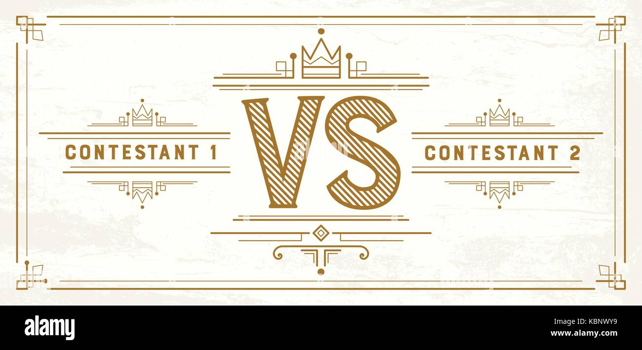Retro Versus Letters. VS Logo. Competition Symbol. Vector illustration. - Stock Vector
