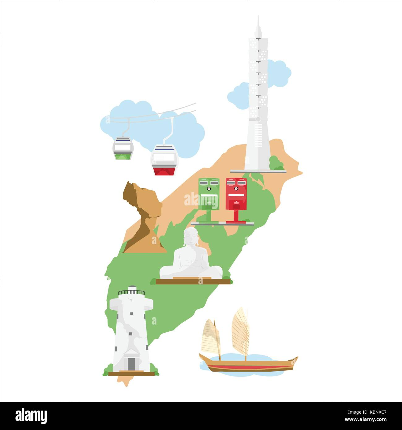 Vector illustration Taiwan travel map with most famous ... on