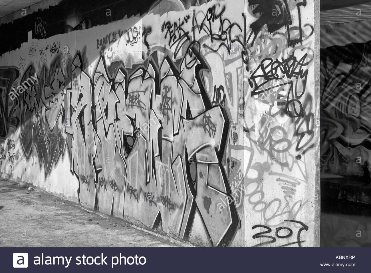 An underpass wall covered in graffiti street art uk