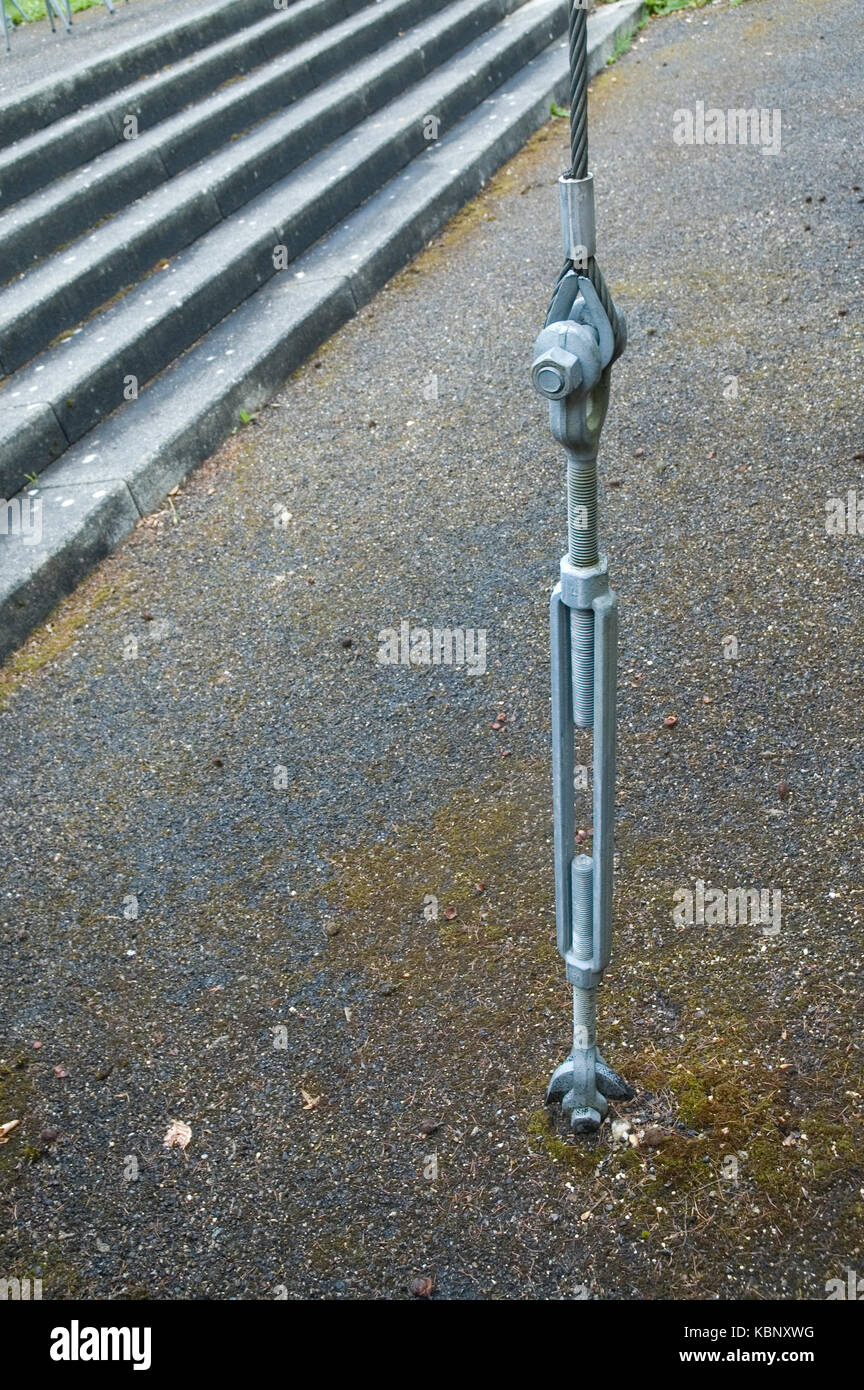 rope spanner for fixation of an awning - Stock Image