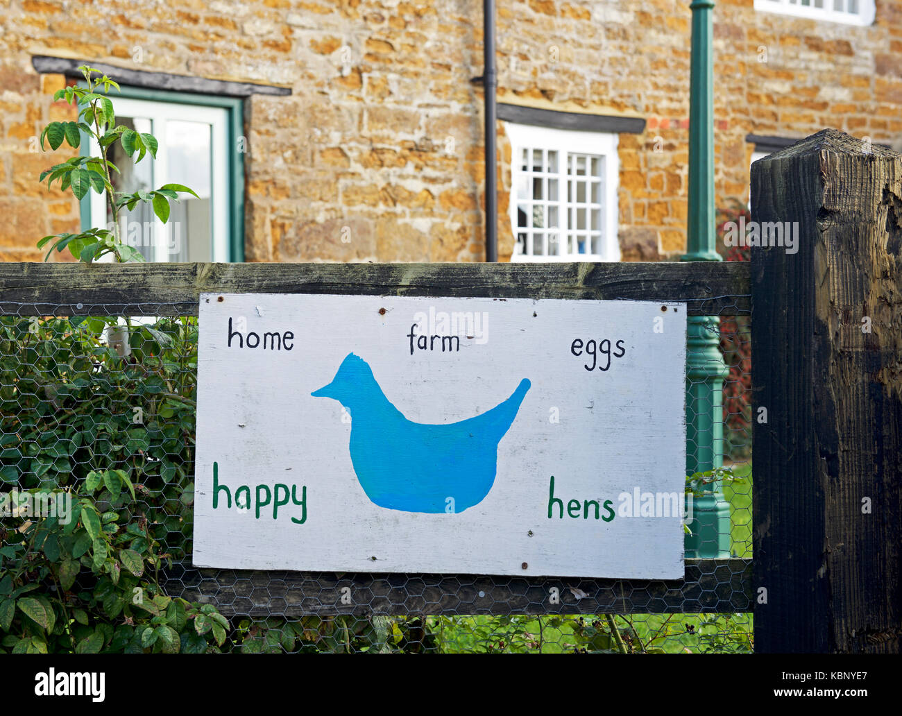 Sign - eggs from happy hens - England UK - Stock Image