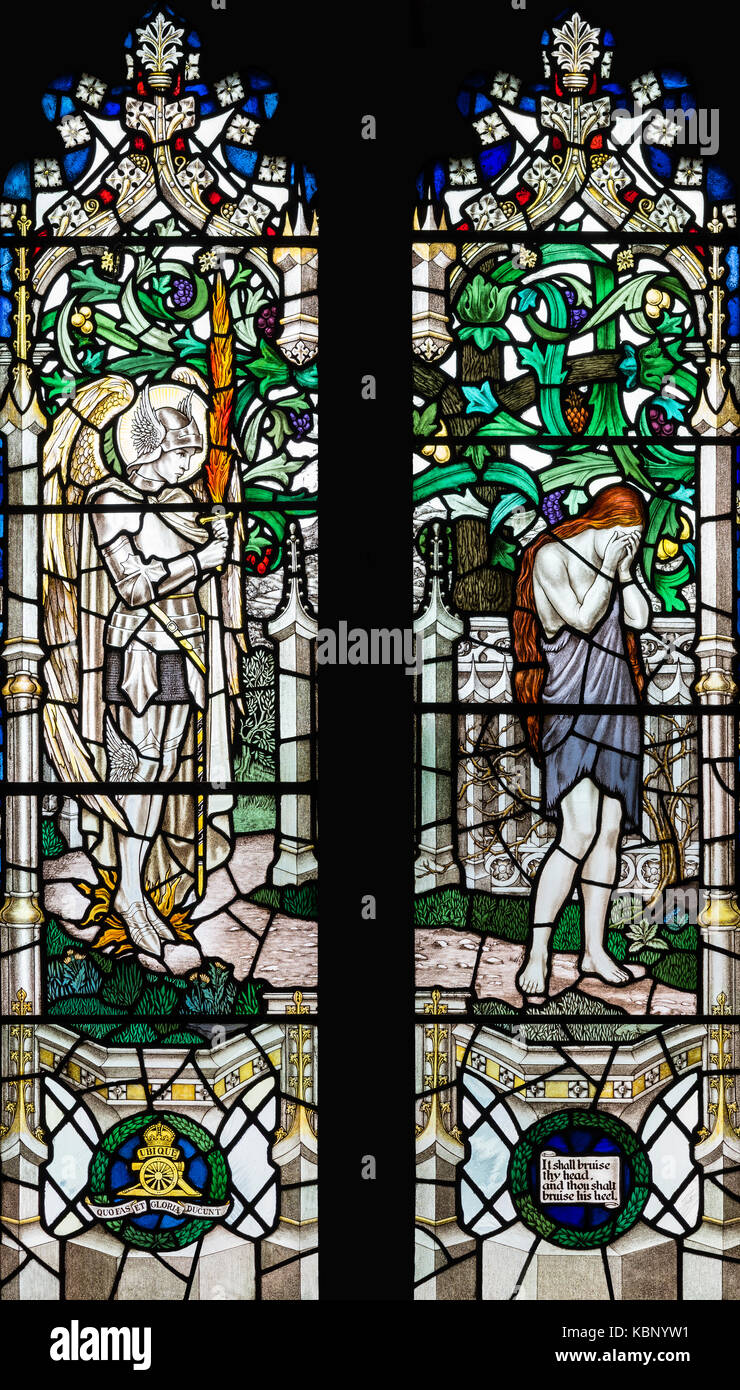 The Expulsion of Eve from Eden, A.K. Nicholson, 1926, Church of St. Gabriel, Uplands, Swansea, United Kingdom Stock Photo