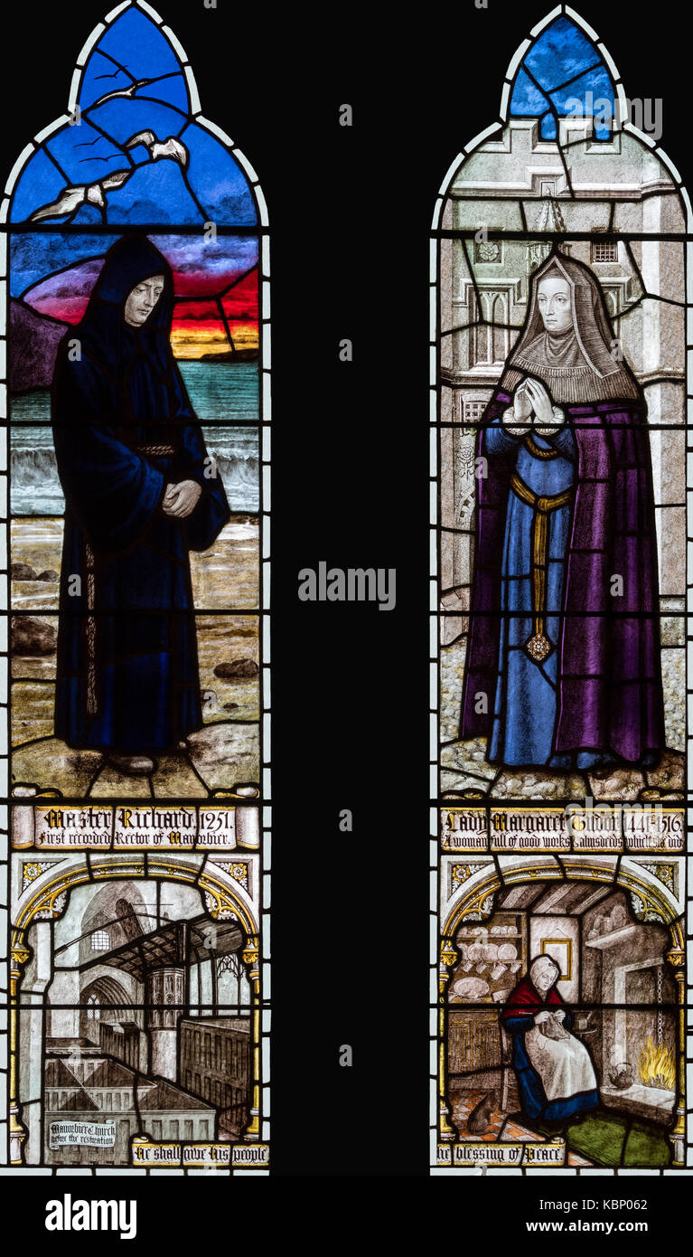 'Simplicity' in Master Richard and Lady Margaret Tudor, Church of St. James, Manorbier, Wales, United Kingdom - Stock Image