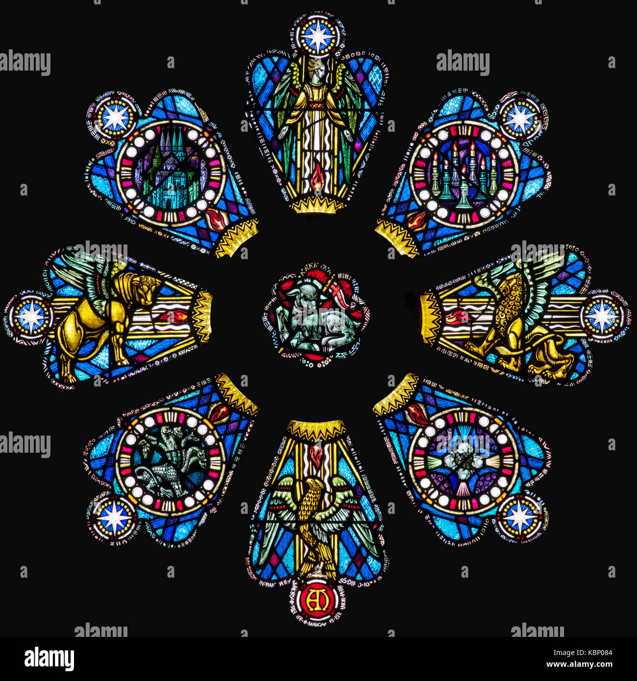 Symbols of the Evangelists, Frederick W. Cole, St. David's Cathedral, Wales, United Kingdom - Stock Image
