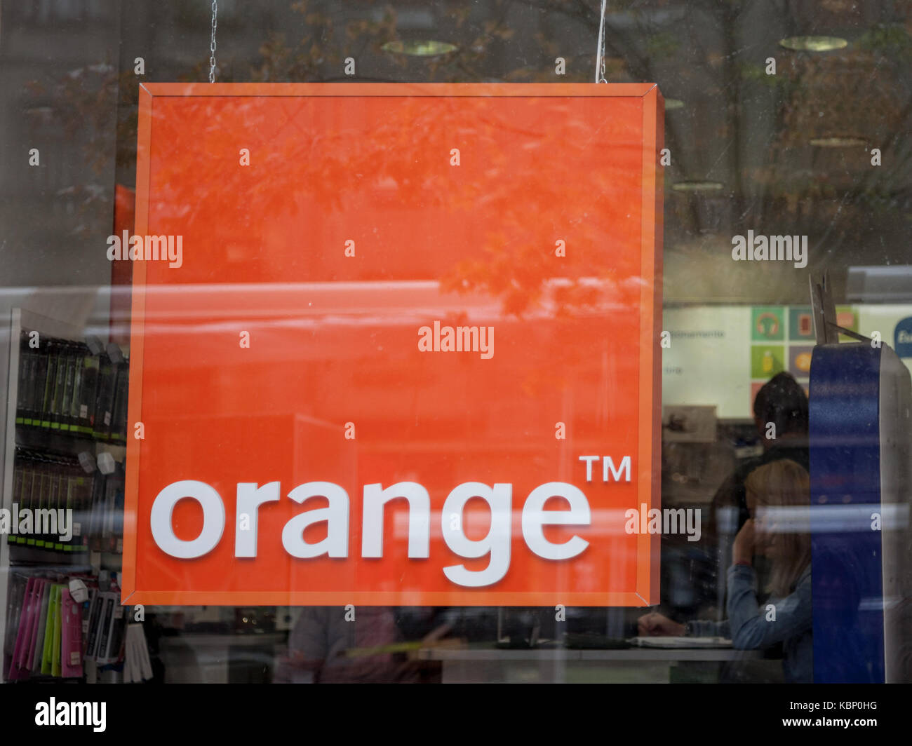 TIMISOARA, SEPTEMBER 21, 2017: Orange logo in an Orange Shop. Orange S.A., formerly France Telecom S.A., is a French - Stock Image