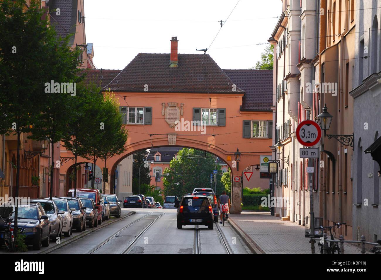 Fischertor Town Gate, Old Town, Augsburg, Swabian, Bavaria, Germany, Europe - Stock Image