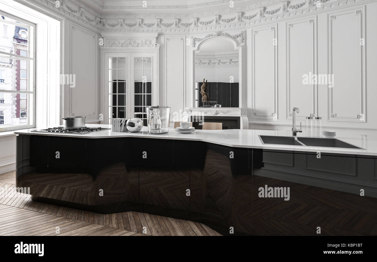 Classic Luxury Modern Black And White Kitchen With Wood