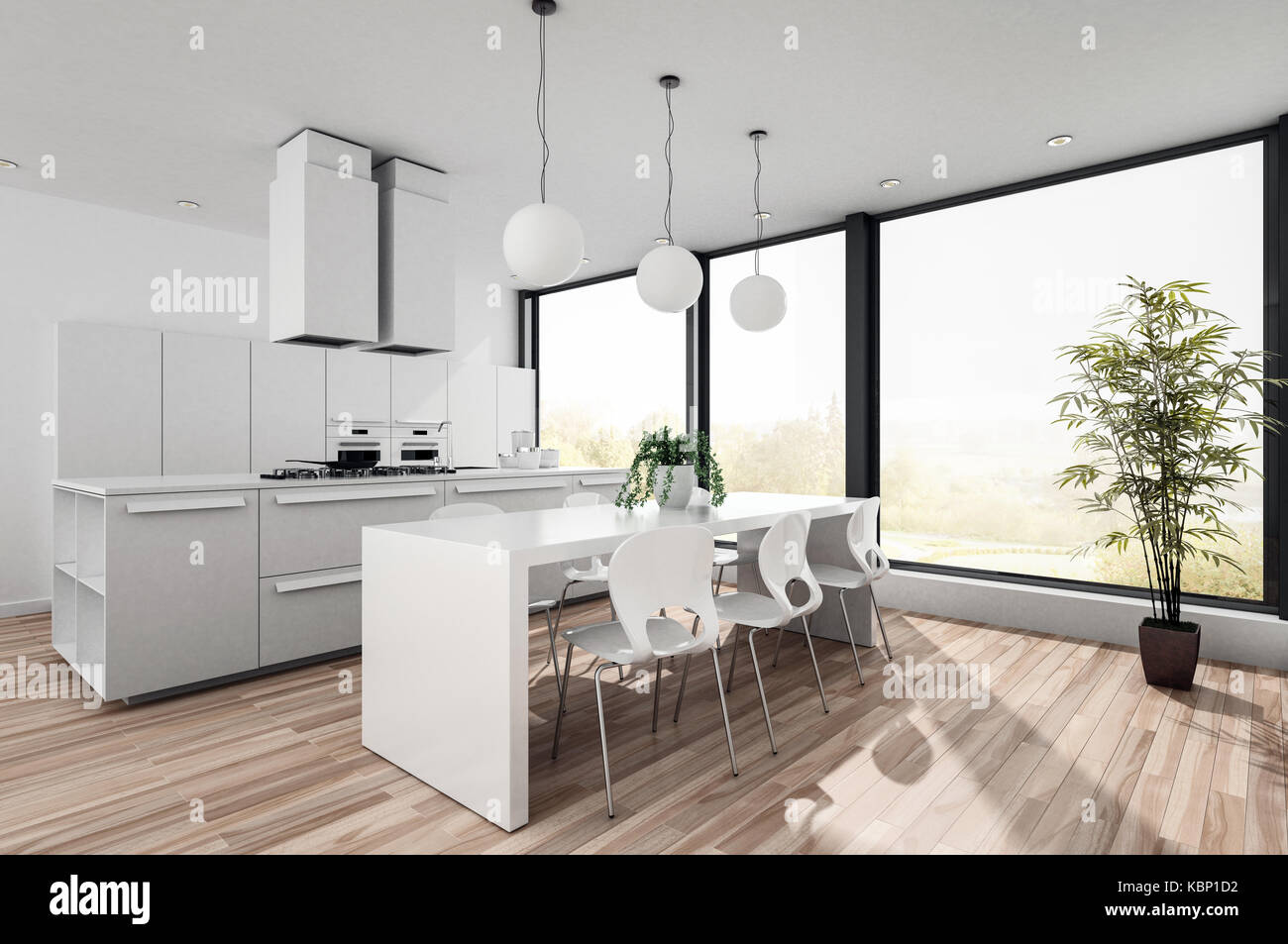 Modern White Open Plan Kitchenette With Fitted Cabinets And Appliances And  A Contemporary Dining Table And Chairs In Front Of Large Bright View Window
