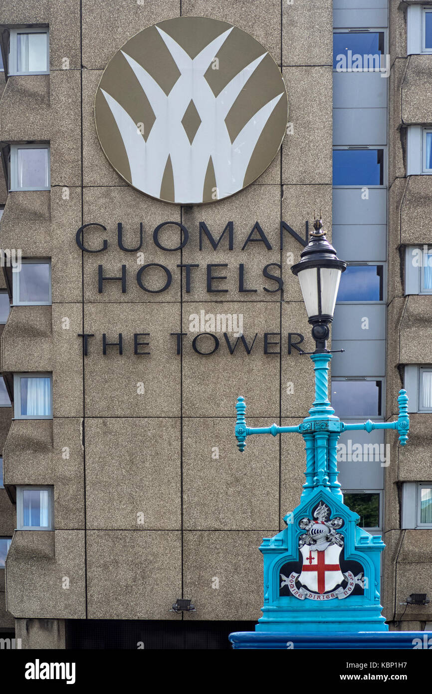 ST KATHERINE DOCKS, LONDON:  Sign on the Guoman Hotels Tower Hotel Stock Photo