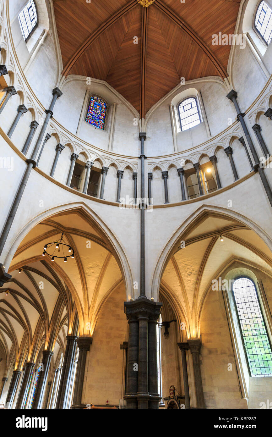Temple Church interior, round church dome of the 12th century medieval place of worship, Inner and Middle Temple, - Stock Image