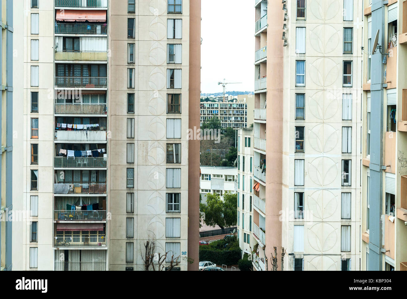 High rise building in the council estate named les MoulinS in Nice, France - Stock Image