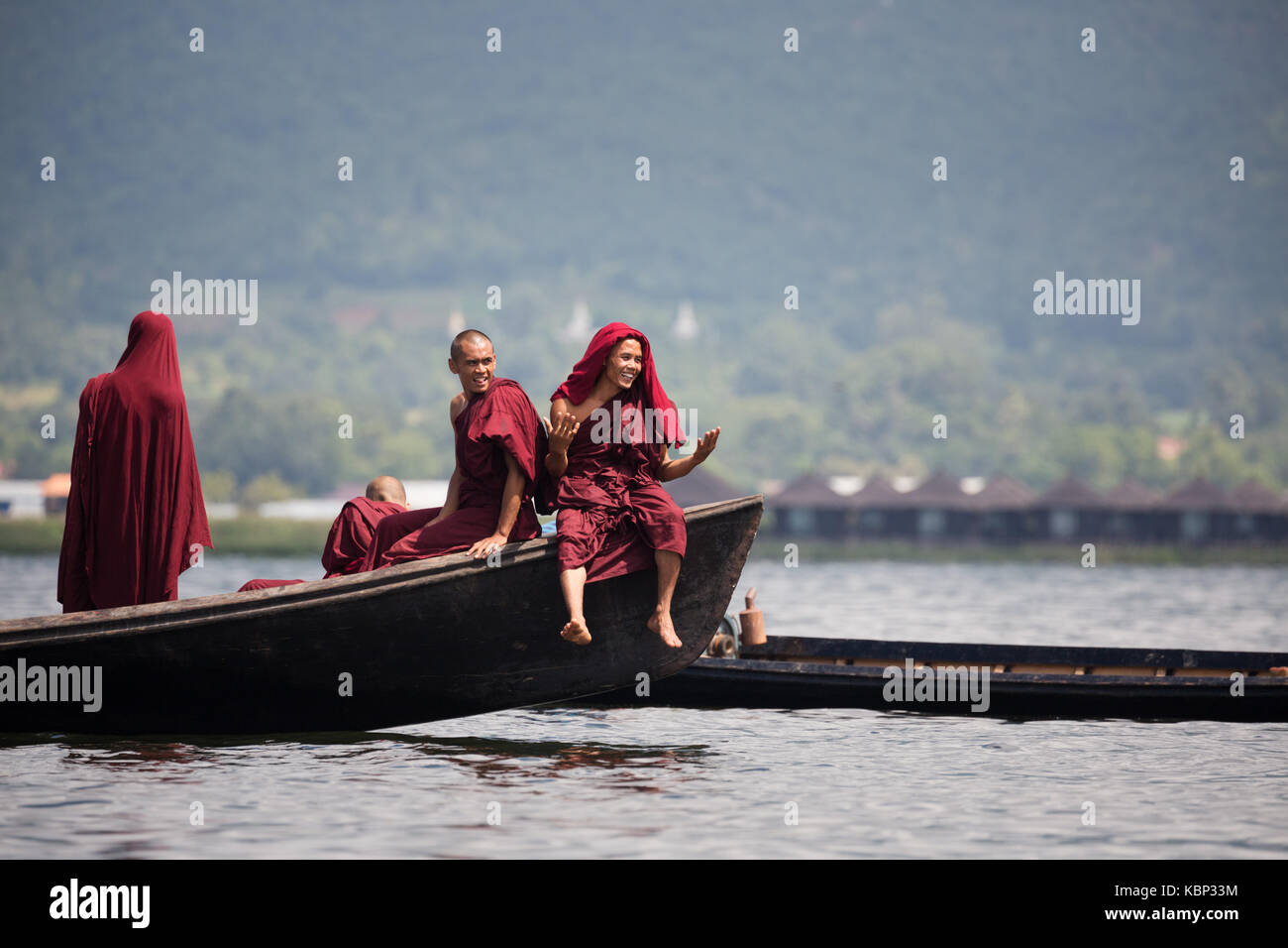 Asia, Myanmar, Shen State, Inle Lake, Boat race competition during Phaung Daw Oo Pagoda Festival, Inn Kaung Village, - Stock Image