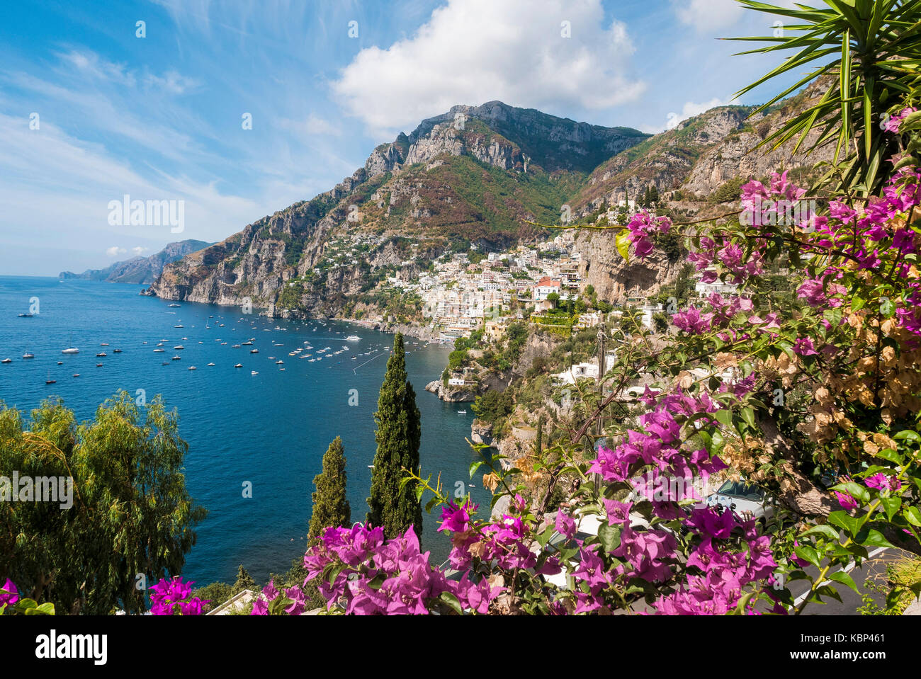 A scenic view of the  town of Positano on the Amalfi coast - Stock Image