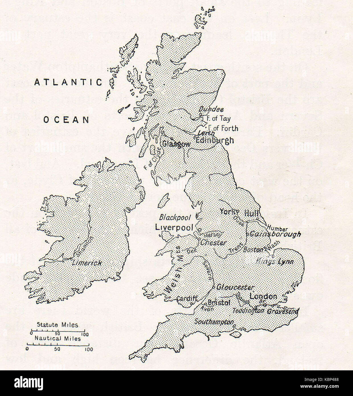 A 1914 map showing Britain's major tidal rivers (distances in statute and nautical miles) - Stock Image