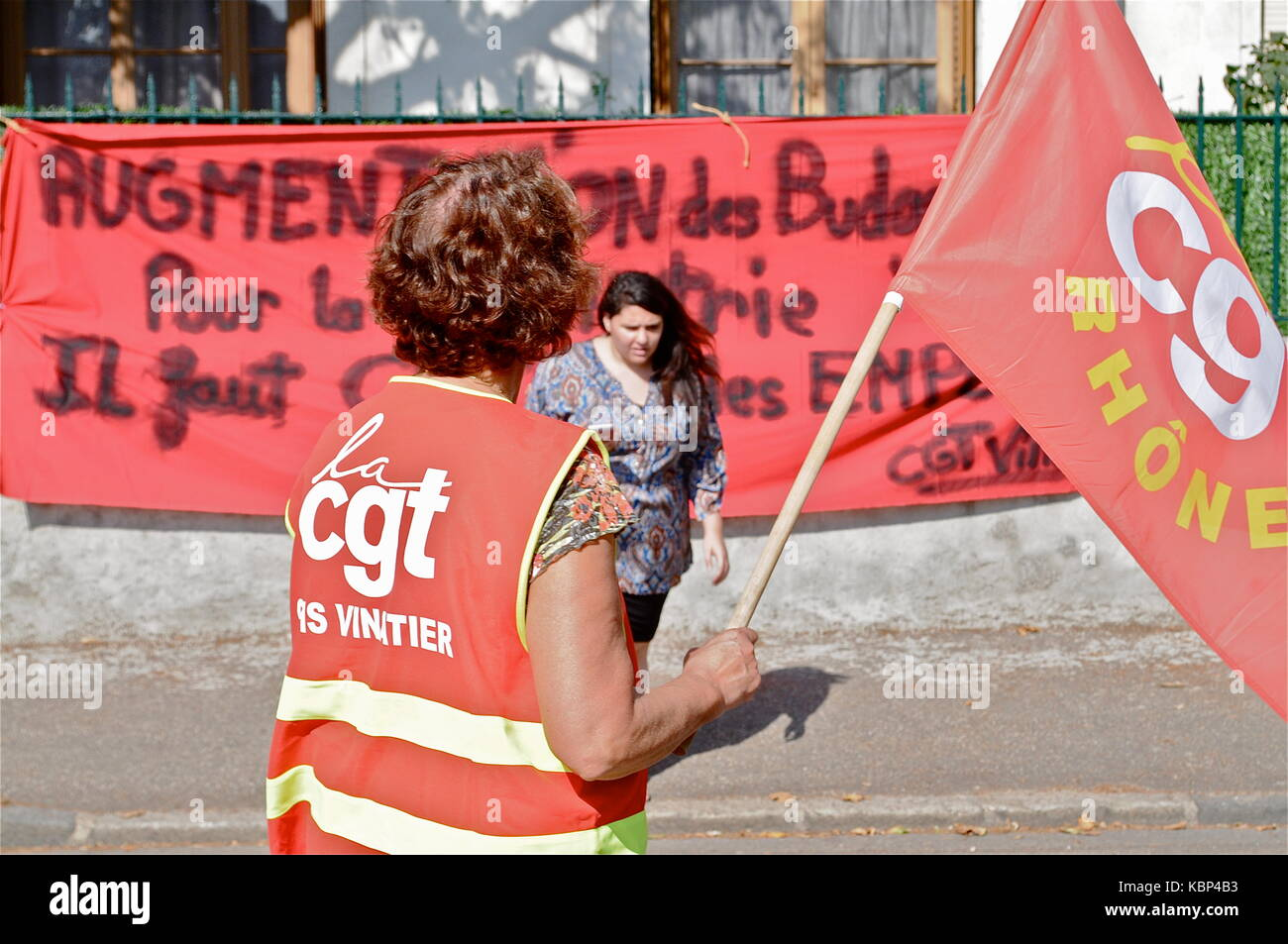 On strike Employees of Psychiatric hospital protest against working conditions, Bron, France Stock Photo