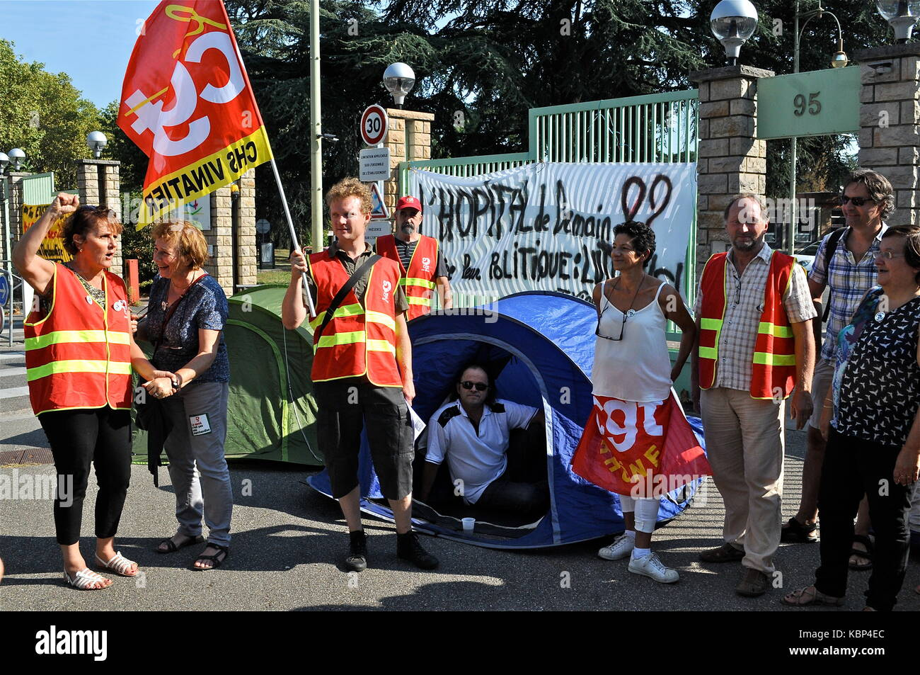 On strike Employees of Psychiatric hospital protest against working conditions, Bron, France - Stock Image