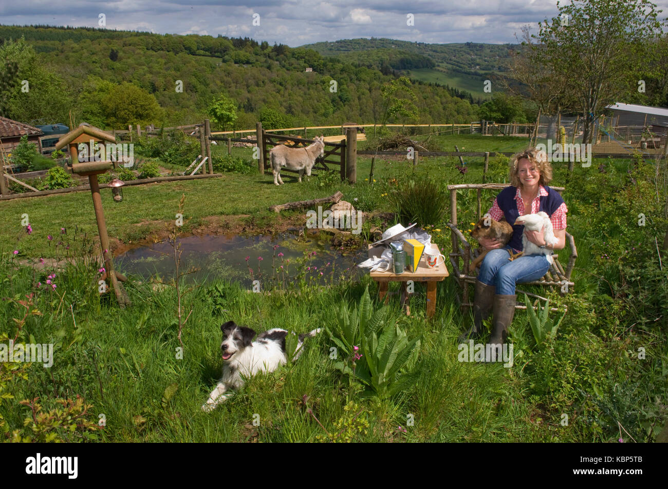Broadcaster Kate Humble at her home in Gloucestershire. - Stock Image