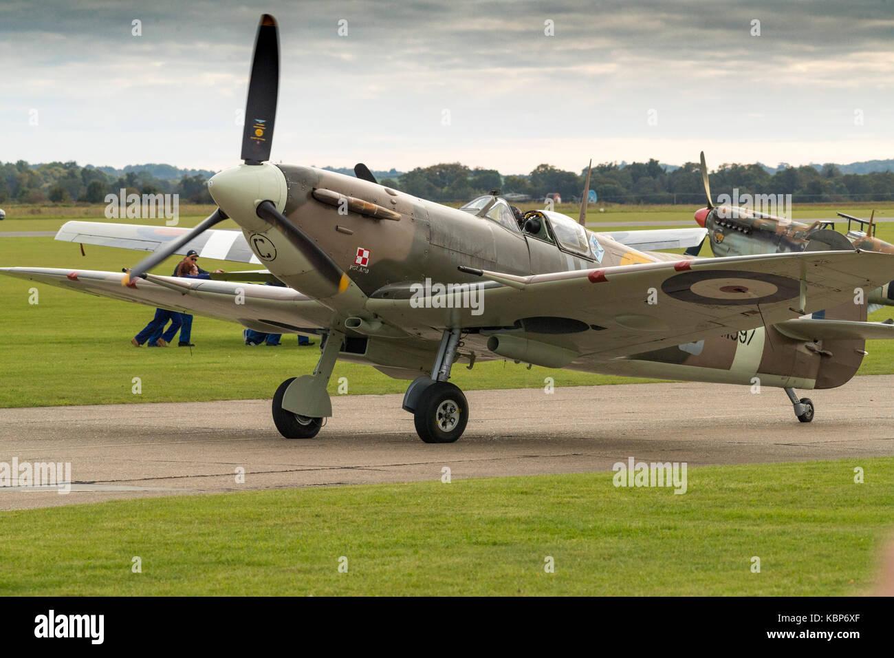 Spitfires,Duxford, Battle of Britain,WW2,planes,propellor,Merlin,engine,messerschmitt,pilots,airfield,Douglas Bader,machine - Stock Image