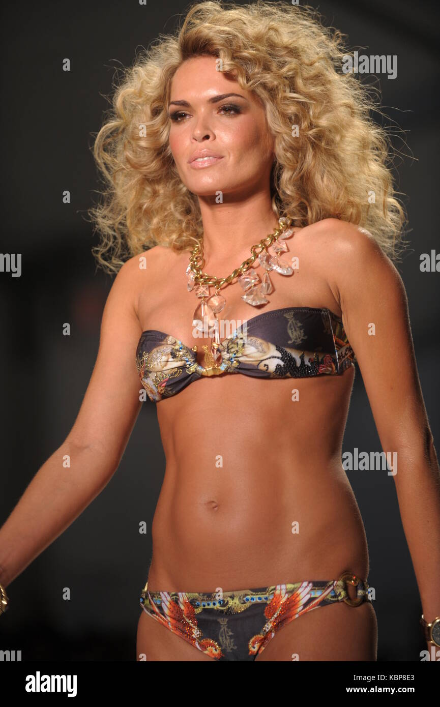 MIAMI BEACH - JULY 19:   Model / TV Personality Cindy Taylor walks the runway at Ed Hardy Swimwear 2009 collection Stock Photo