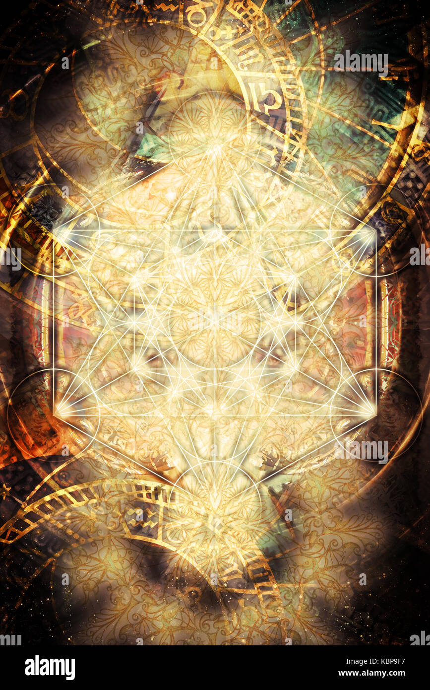 Light merkaba and zodiac and abstract background. Sacred geometry - Stock Image