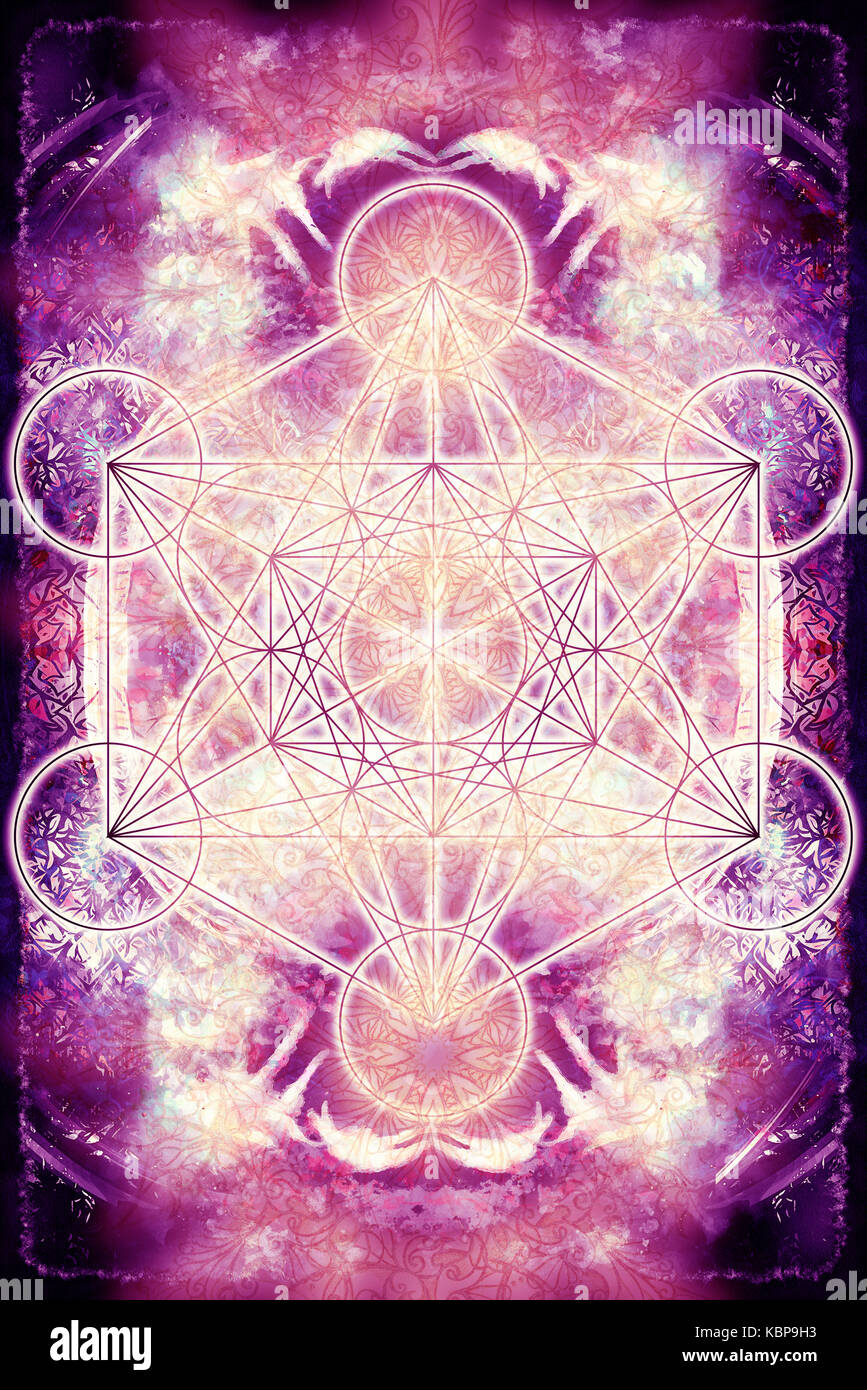 Merkaba and mandala on abstract color background. Sacred geometry - Stock Image