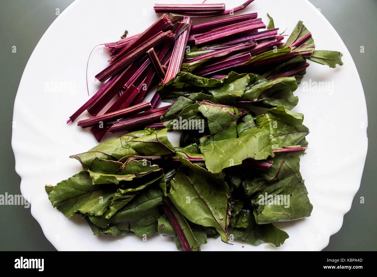 Raw Beetroot Leaves and Stems prior to cooking - Stock Image