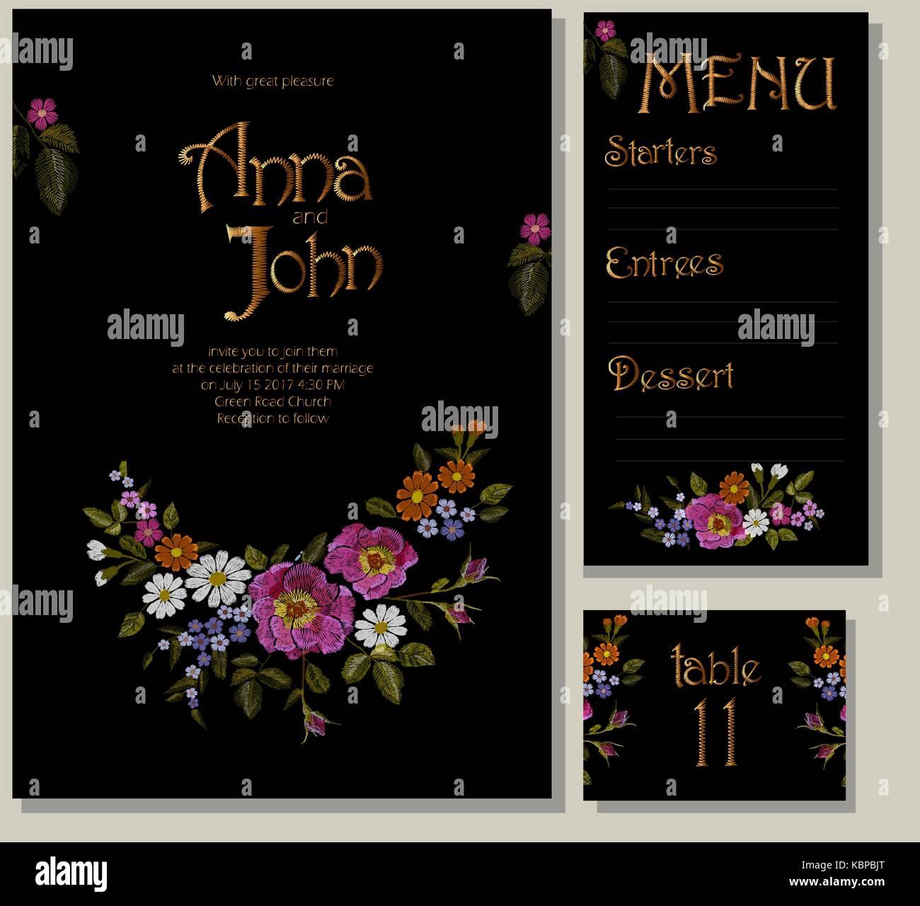 floral wedding cards design suite template rustic field flower wild