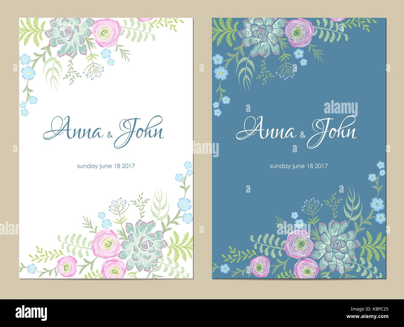 Delicate flowers wedding invitation. Save the date greeting card ...