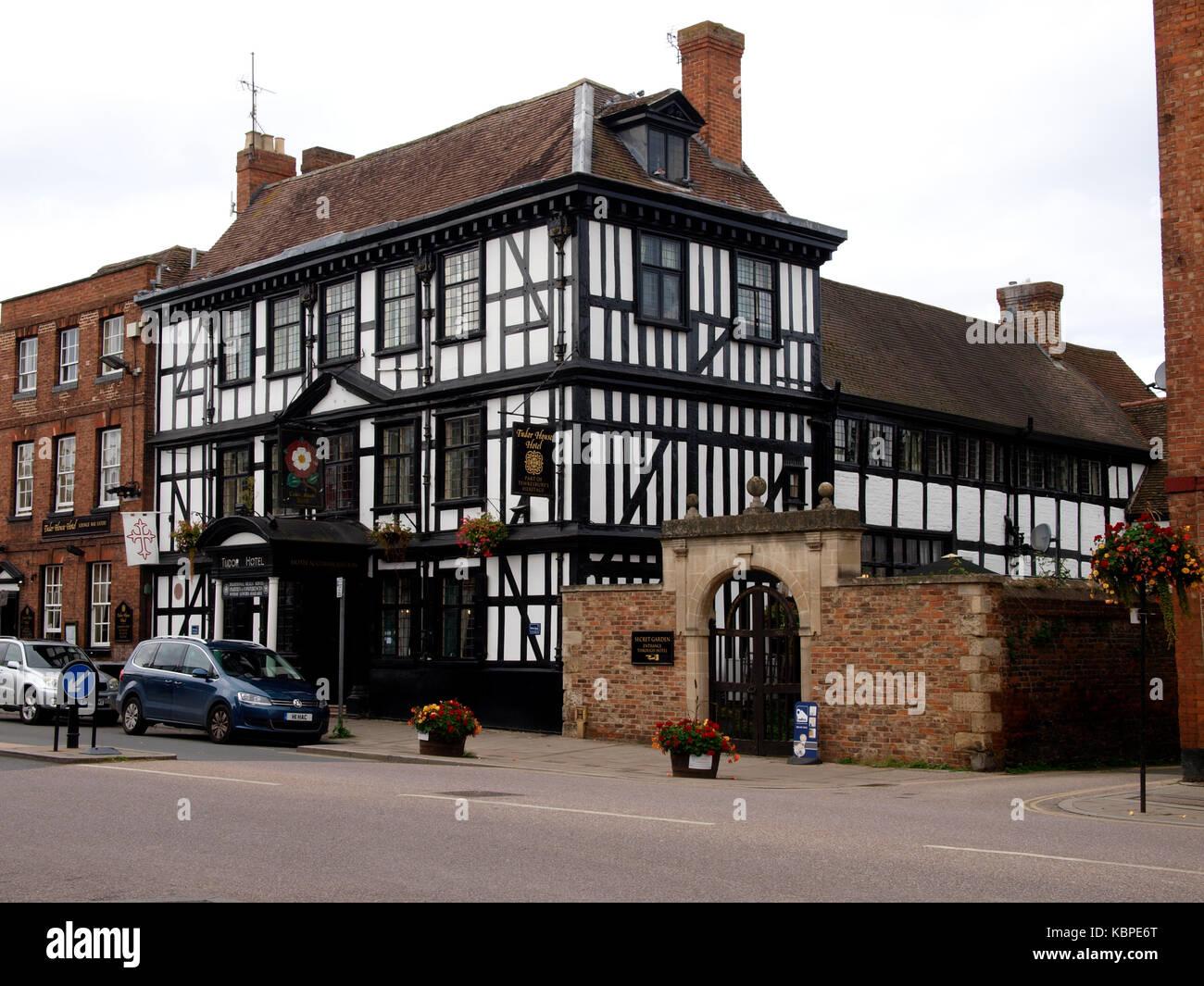 The Haunted 16th Century Tudor House Hotel, Tewkesbury, Gloucestershire, UK - Stock Image
